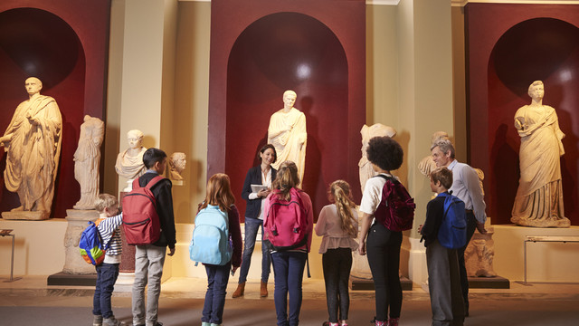 group of students at a museum