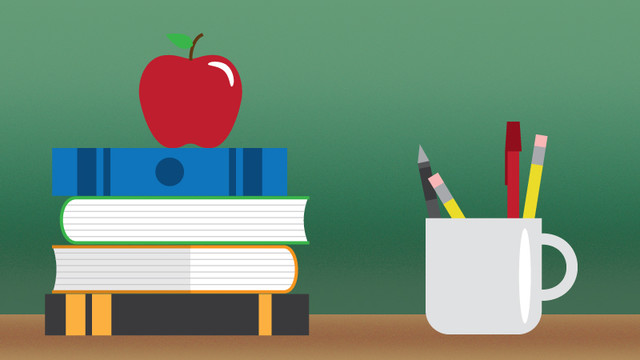 Apple on stack of bucks next to coffee mug of pencils and pens